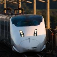 新玉名駅では秋の今回も夕陽の新幹線を見て