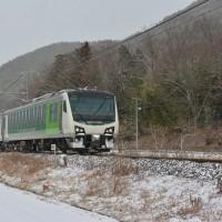 本日撮影 雪の中の辰野線経由「リゾートビュー諏訪湖」号