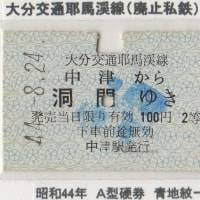大分交通耶馬渓線の硬券1