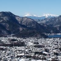 河口湖から富士を見る