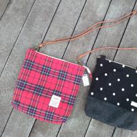Chacha(チャチャ)さんのコーデュロイの手さげバッグとチェックとドットのショルダーバッグ♪