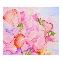 絵画販売・水彩原画「スイトピーの花」