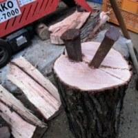 薪を楔で割る