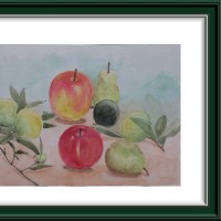秋の果物を描く