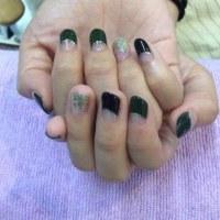 フレンチ ブラック カーキ ラメネイル