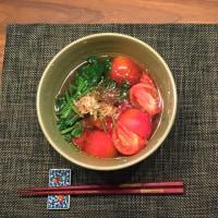 本日のご飯 トマトのおひたしは色が綺麗