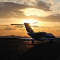 岡南飛行場の夕日