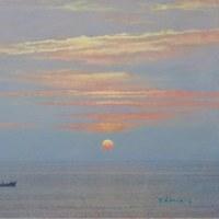 「平戸の夕陽」P8号