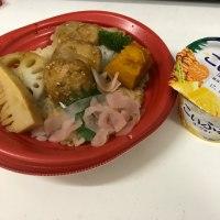 今日のお昼ご飯 鶏つくねと野菜の黒酢あんかけ丼