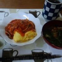 5月29日夕 きのこのトマトソースオムレツ