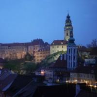 チェスキー・クルムロフ城の夜景