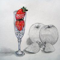 ~水彩画~イチゴとリンゴ~