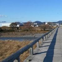 囲碁と蓬莱橋より見える富士山