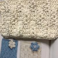 コットンにて模様編み