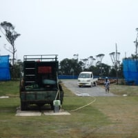 ヘリによる資材搬送に作業ヤードで抗議行動