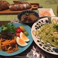 バジルパスタの夕ご飯