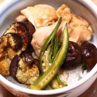 鶏丼&烏賊とセロリの中華炒め