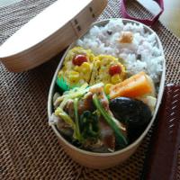 お弁当(豚肉&水菜・キャベツのハーブソルト炒め)