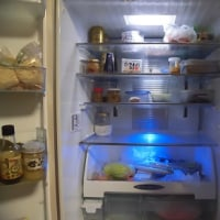 空っぽ冷蔵庫と海香石のミネラル水