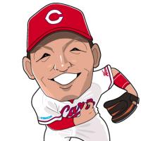 鈴木誠也選手の似顔絵。
