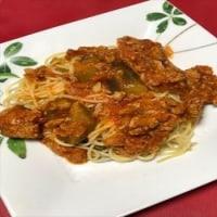 今日のお昼はミートソーススパゲティー