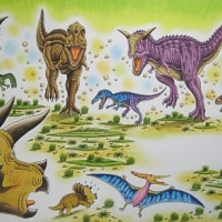 恐竜トリケラトプスとアルゼンチノサウルス