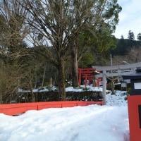 雪の有子山城跡へ