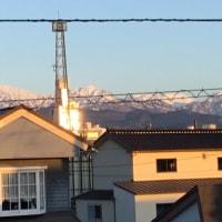 夕陽を浴びてる「立山連峰」