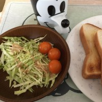 1/20(金)朝食(トースト・サラダ・コーヒー)。