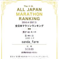 全日本マラソンランキングと、2017年度の目標♪