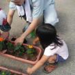 しばしの賑わい^^子ども会プランター花植え
