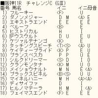 「チャレンジC」のカバラ暗示付き出馬表