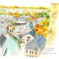 ルクセンブルク市のペトリュス渓谷 世界わがスケッチの旅