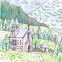 西洋の山村(塗り絵)
