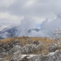 雪景色の草千里。
