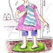 朝シャワーで洗髪も(イラスト)