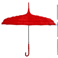 女性向けの赤い16本骨傘エレガントなパコダ傘
