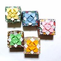 4月の折り紙ー富士山 花の小箱 タンポポー