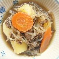 牛肉とゴボウとニンジンの甘辛煮+糸こんにゃく-ゴボウ+ジャガイモ~しりとり料理 その3~