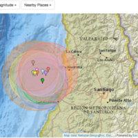 チリ中部で群発的に地震が起こっている。