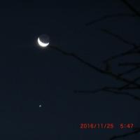 雪の後の澄んだ空に星と月と木星の饗宴