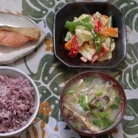 秋鮭を焼いて黒米ご飯と緑黄色野菜の胡麻和えに添える朝