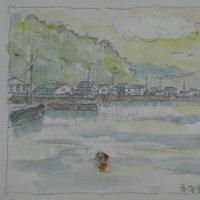 絵「青海島通(かよい)漁港」(スケッチ)