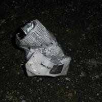 たばこの空箱1個、ペットボトル1本、缶1本収集 レジ袋でゴミ拾い&パトロール