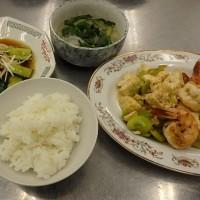 そら豆と海老と豆腐の塩炒め@男の料理教室