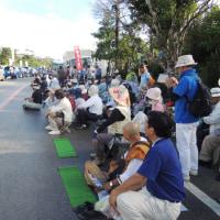 24日の高江・土曜大行動でダンプトラックの進入を阻止。ゲート前に250名が結集、そして山の中にも合計70人が入った!