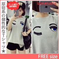 トップス 大きいサイズ フェイス 刺繍 Tシャツ カットソー LL 3L