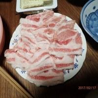 クレソンと豚のすき焼き@奈良の従兄弟宅