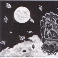 詩画・月見る月[飛ぶ、童女]