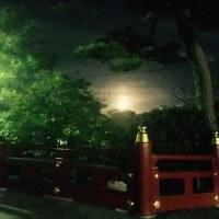 大きな月と朝焼け